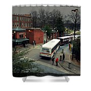 Raleigh Bus Terminal - Evening Shower Curtain by Paulette B Wright