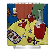 Raspberry Wine Shower Curtain by Barbara McMahon