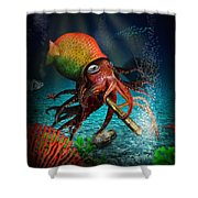 Rasta Squid Shower Curtain by Alessandro Della Pietra
