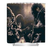 Raw Energy Of Led Zeppelin Shower Curtain by Daniel Hagerman