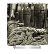 Ready For Work Black And White Sepia Shower Curtain by Scott Campbell