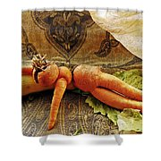 Reclining Nude Carrot Shower Curtain by Sarah Loft