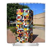 Reconstructing Fences Shower Curtain by Michelle Calkins