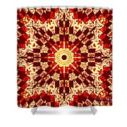 Red And White Patchwork Art Shower Curtain by Barbara Griffin