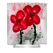 Red Asian Poppies Shower Curtain by Sharon Cummings
