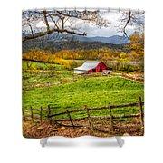 Red Barn Shower Curtain by Debra and Dave Vanderlaan