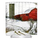 Red Barn In Snow Shower Curtain by John Haldane