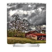 Red Barn On The Boswell Farm Shower Curtain by Reid Callaway