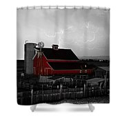Red Barn On The Farm And Lightning Thunderstorm Bwsc Shower Curtain by James BO  Insogna