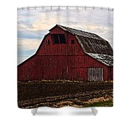 Red Barn Photoart Shower Curtain by Debbie Portwood