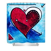 Red Blue Heart Love Painting Pop Art Joy by Megan Duncanson Shower Curtain by Megan Duncanson
