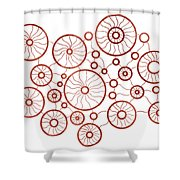Red Circles Shower Curtain by Frank Tschakert