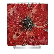 Red Flower 1 - Vibrant Red Floral Art Shower Curtain by Sharon Cummings