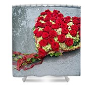 Red Flower Heart With Roses - Beautiful Wedding Flowers Shower Curtain by Matthias Hauser