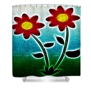 Red Flowers - Digitally Created And Altered With A Filter Shower Curtain by Gina Lee Manley