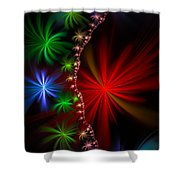 Red Green And Blue Fractal Stars Shower Curtain by Matthias Hauser