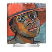 Red Hat Lady Shower Curtain by Xueling Zou