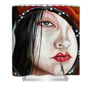 Red Shower Curtain by Hiroko Sakai