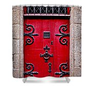 Red Medieval Door Shower Curtain by Elena Elisseeva