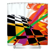 Red Movement Shower Curtain by Jean Pierre Rousselet