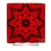 Red Patchwork Art Shower Curtain by Barbara Griffin