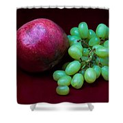 Red Pomegranate And Green Grapes Shower Curtain by Alexander Senin