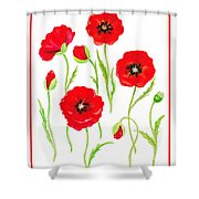 Red Poppies Shower Curtain by Irina Sztukowski