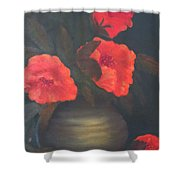 Red Poppies Shower Curtain by Kay Novy