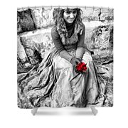 Red Red Rose In Black And White Shower Curtain by David Smith
