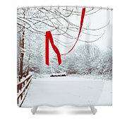 Red Ribbon In Tree Shower Curtain by Amanda And Christopher Elwell