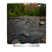 Red River Crossing under Cathedral Rock Shower Curtain by Dave Dilli