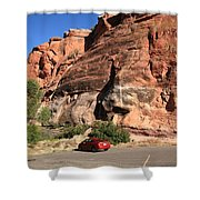 Red Rock And Red Car Shower Curtain by Frank Romeo