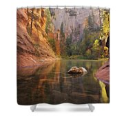 Red Rock Autumn Shower Curtain by Peter Coskun