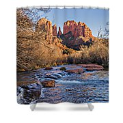 Red Rock Crossing Winter Shower Curtain by Mary Jo Allen