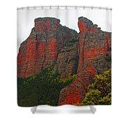 Red Rock face Shower Curtain by John Stuart Webbstock