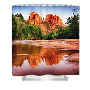 Red Rock State Park - Cathedral Rock Shower Curtain by Bob and Nadine Johnston
