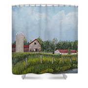 Red Roof Barns Shower Curtain by Reb Frost