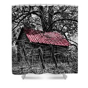 Red Roof Shower Curtain by Debra and Dave Vanderlaan
