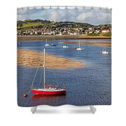 Red Sail Boat Shower Curtain by Adrian Evans