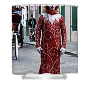 Red Sequined Mime Shower Curtain by Kathleen K Parker