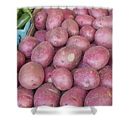 Red Skin Potatoes Stall Display Shower Curtain by JPLDesigns