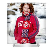Red Sox Girl Shower Curtain by Greg Fortier