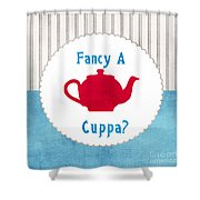 Red Teapot Shower Curtain by Linda Woods