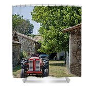 Red Tractor On A French Farm Shower Curtain by Georgia Fowler
