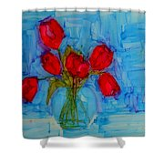 Red Tulips With Blue Background Shower Curtain by Patricia Awapara