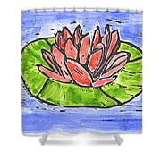 Red Waterlily Shower Curtain by Lynn-Marie Gildersleeve