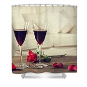 Red Wine Shower Curtain by Amanda And Christopher Elwell