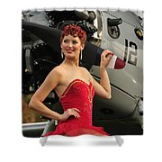 Redhead Pin-up Girl In 1940s Style Shower Curtain by Christian Kieffer