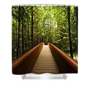Redwood Bridge Shower Curtain by Chad Dutson