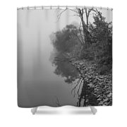 Reflections In Black And White Shower Curtain by Dan Sproul